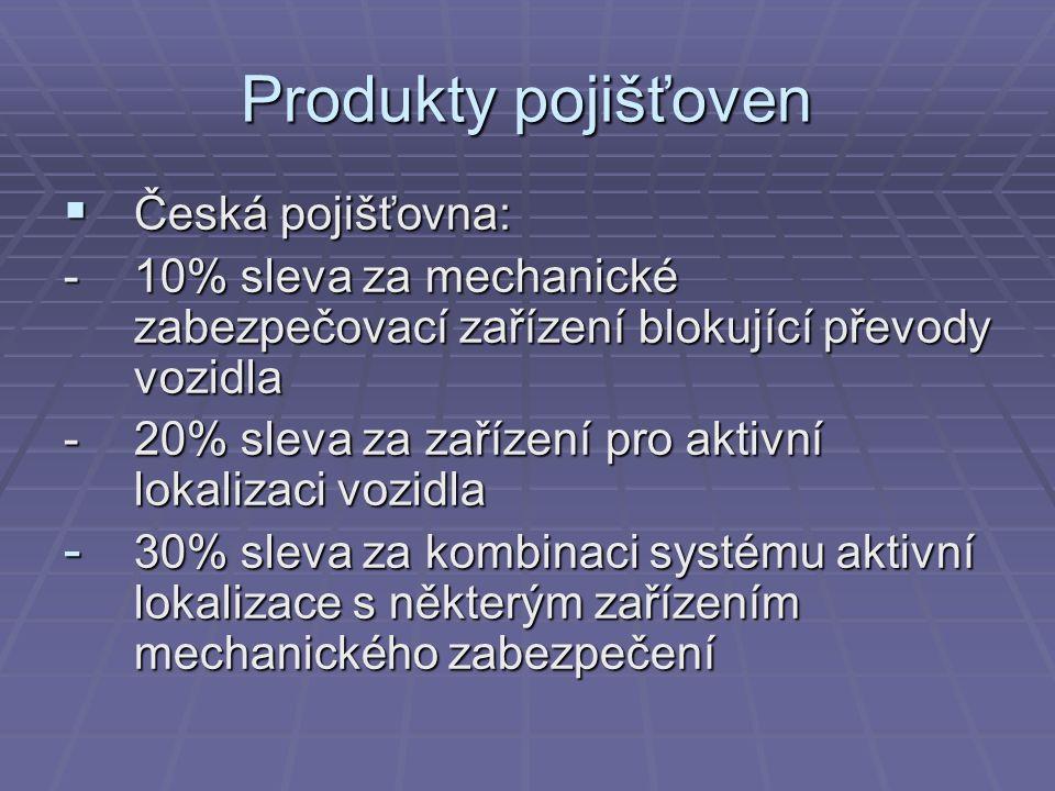 Produkty pojišťoven  Česká pojišťovna: -10% sleva za mechanické zabezpečovací zařízení blokující převody vozidla -20% sleva za zařízení pro aktivní lokalizaci vozidla - 30% sleva za kombinaci systému aktivní lokalizace s některým zařízením mechanického zabezpečení