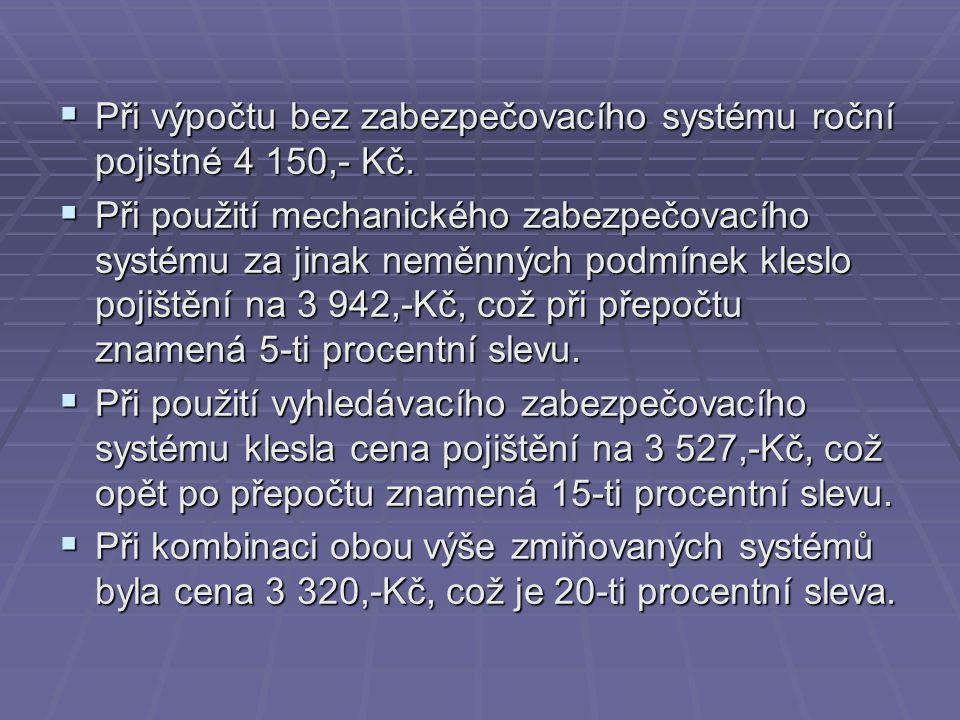  Při výpočtu bez zabezpečovacího systému roční pojistné 4 150,- Kč.