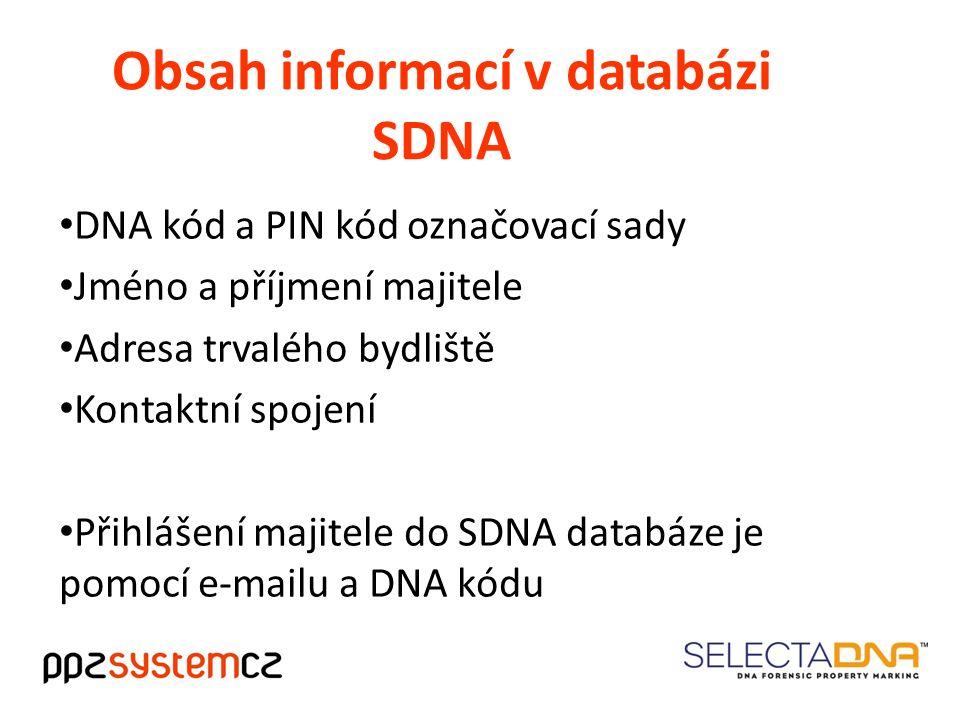 Obsah informací v databázi SDNA DNA kód a PIN kód označovací sady Jméno a příjmení majitele Adresa trvalého bydliště Kontaktní spojení Přihlášení majitele do SDNA databáze je pomocí e-mailu a DNA kódu
