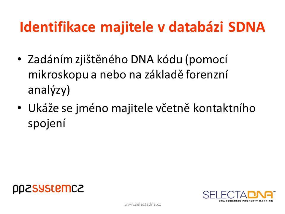 Identifikace majitele v databázi SDNA Zadáním zjištěného DNA kódu (pomocí mikroskopu a nebo na základě forenzní analýzy) Ukáže se jméno majitele včetně kontaktního spojení www.selectadna.cz