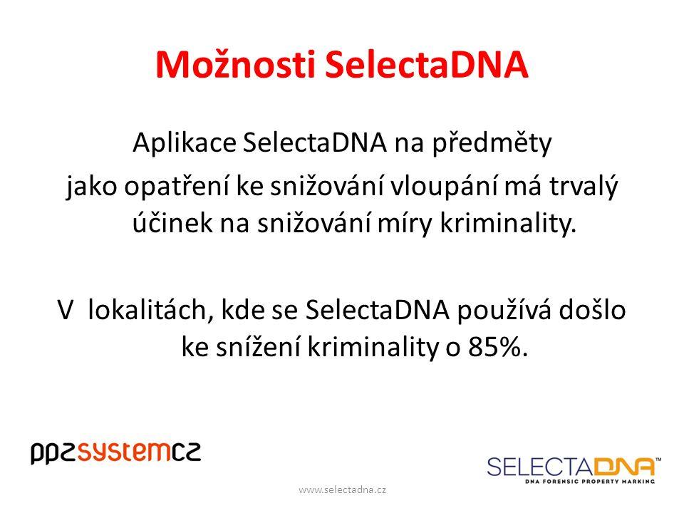 Možnosti SelectaDNA Aplikace SelectaDNA na předměty jako opatření ke snižování vloupání má trvalý účinek na snižování míry kriminality.