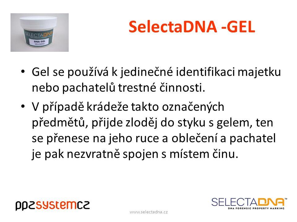 SelectaDNA -GEL Gel se používá k jedinečné identifikaci majetku nebo pachatelů trestné činnosti.