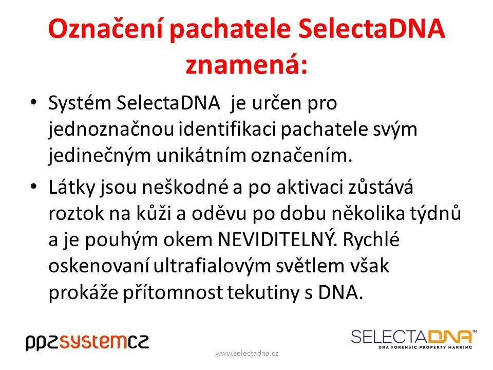 Označení pachatele SelectaDNA znamená: Systém SelectaDNA je určen pro jednoznačnou identifikaci pachatele svým jedinečným unikátním označením.