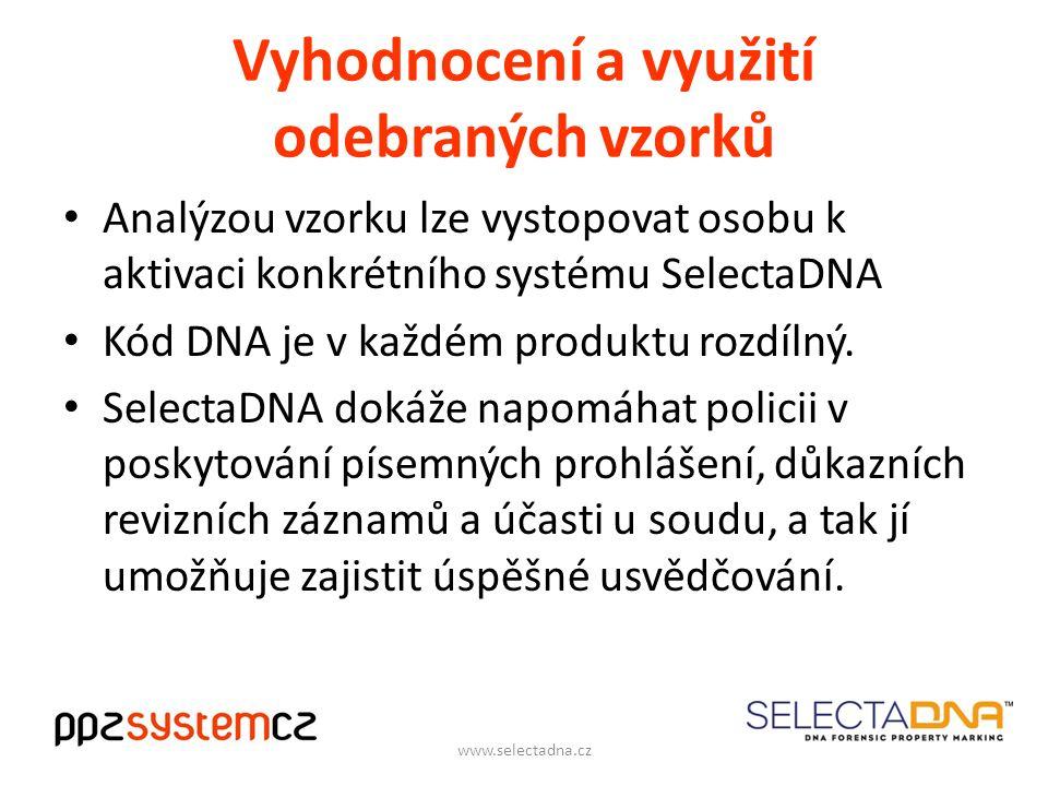 Vyhodnocení a využití odebraných vzorků Analýzou vzorku lze vystopovat osobu k aktivaci konkrétního systému SelectaDNA Kód DNA je v každém produktu rozdílný.