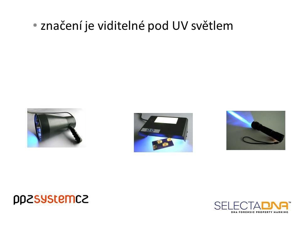 značení je viditelné pod UV světlem