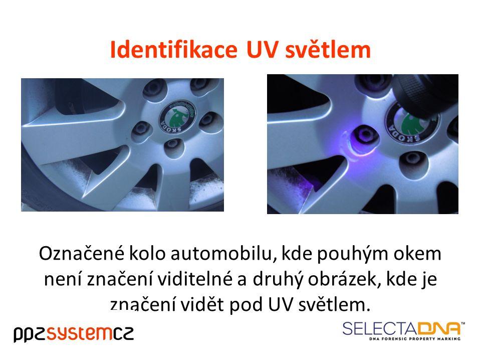 Identifikace UV světlem Označené kolo automobilu, kde pouhým okem není značení viditelné a druhý obrázek, kde je značení vidět pod UV světlem.