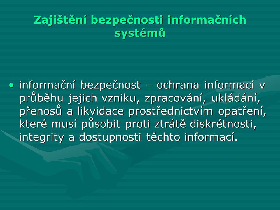 Zajištění bezpečnosti informačních systémů informační bezpečnost – ochrana informací v průběhu jejich vzniku, zpracování, ukládání, přenosů a likvidace prostřednictvím opatření, které musí působit proti ztrátě diskrétnosti, integrity a dostupnosti těchto informací.informační bezpečnost – ochrana informací v průběhu jejich vzniku, zpracování, ukládání, přenosů a likvidace prostřednictvím opatření, které musí působit proti ztrátě diskrétnosti, integrity a dostupnosti těchto informací.