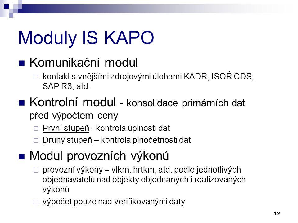 12 Moduly IS KAPO Komunikační modul  kontakt s vnějšími zdrojovými úlohami KADR, ISOŘ CDS, SAP R3, atd.
