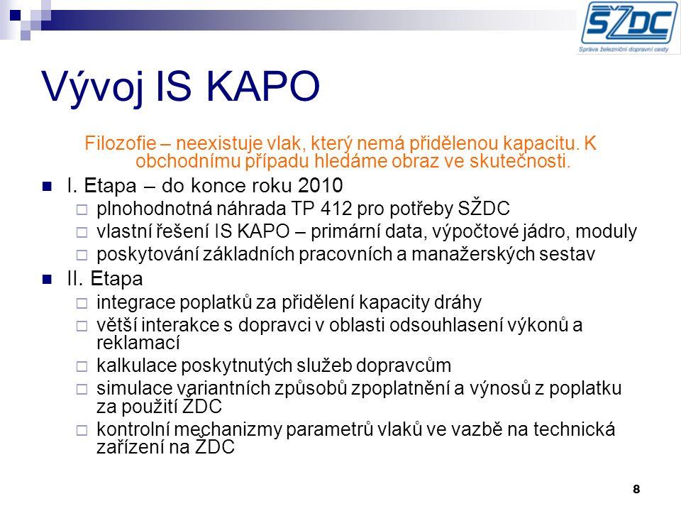 """9 Primární datové zdroje KADR objednané trasy jak dlouhodobý, tak i ad hoc (komunikace se systémy CEV/Kango) zabezpečuje z pohledu těchto tras úplnost parametrů žádosti (objednávky) nutných pro výpočet poplatků za použití a rezervaci DC ISOŘ CDS parametry o realizaci objednaných trasách pro následné kalkulace ceny za použití DC REVOZ parametry kolejových vozidel dopravců (hmotnost vozidla, koeficienty """"e , """"n , osazení elektroměru a další)"""
