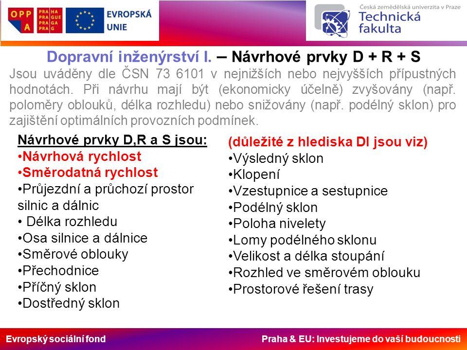 Evropský sociální fond Praha & EU: Investujeme do vaší budoucnosti Dopravní inženýrství I. – Návrhové prvky D + R + S Jsou uváděny dle ČSN 73 6101 v n
