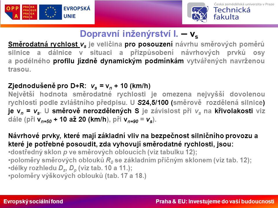 Evropský sociální fond Praha & EU: Investujeme do vaší budoucnosti Dopravní inženýrství I. – v s Směrodatná rychlost v s je veličina pro posouzení náv