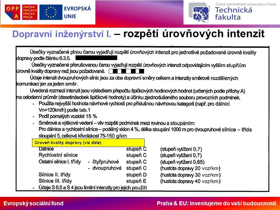 Evropský sociální fond Praha & EU: Investujeme do vaší budoucnosti Dopravní inženýrství I. – rozpětí úrovňových intenzit Úroveň kvality dopravy (viz d