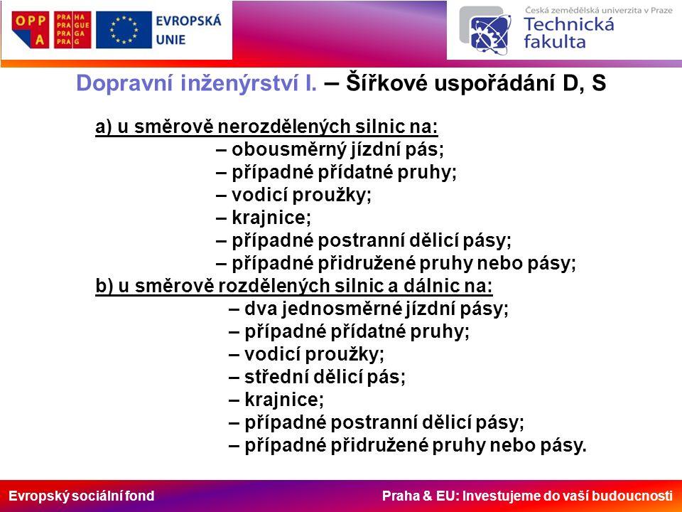 Evropský sociální fond Praha & EU: Investujeme do vaší budoucnosti Dopravní inženýrství I. – Šířkové uspořádání D, S a) u směrově nerozdělených silnic