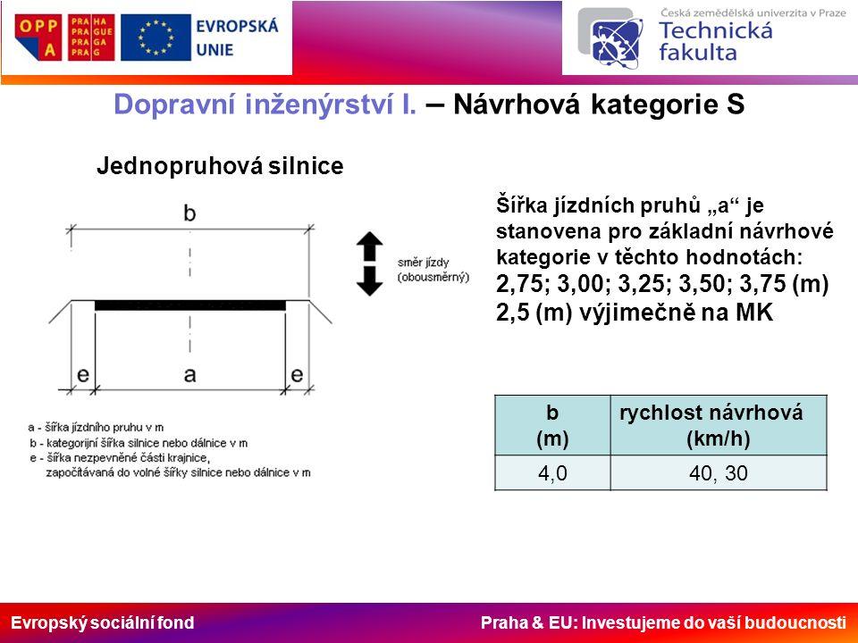 Evropský sociální fond Praha & EU: Investujeme do vaší budoucnosti Dopravní inženýrství I. – Návrhová kategorie S Jednopruhová silnice Šířka jízdních