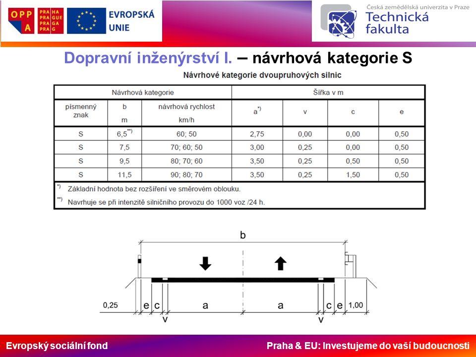 Evropský sociální fond Praha & EU: Investujeme do vaší budoucnosti Dopravní inženýrství I. – návrhová kategorie S