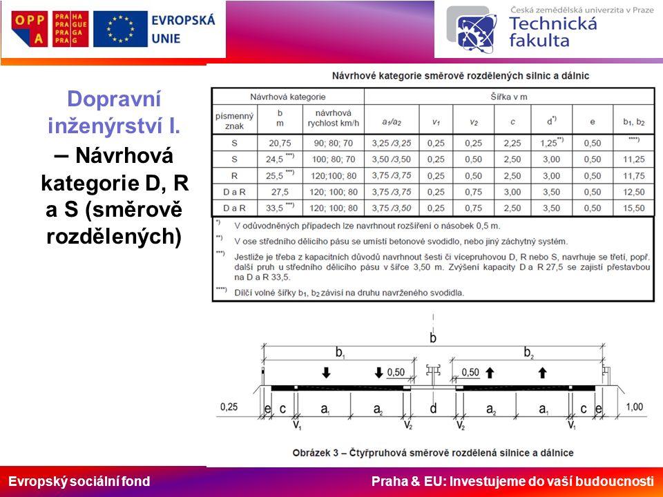 Evropský sociální fond Praha & EU: Investujeme do vaší budoucnosti Dopravní inženýrství I. – Návrhová kategorie D, R a S (směrově rozdělených)