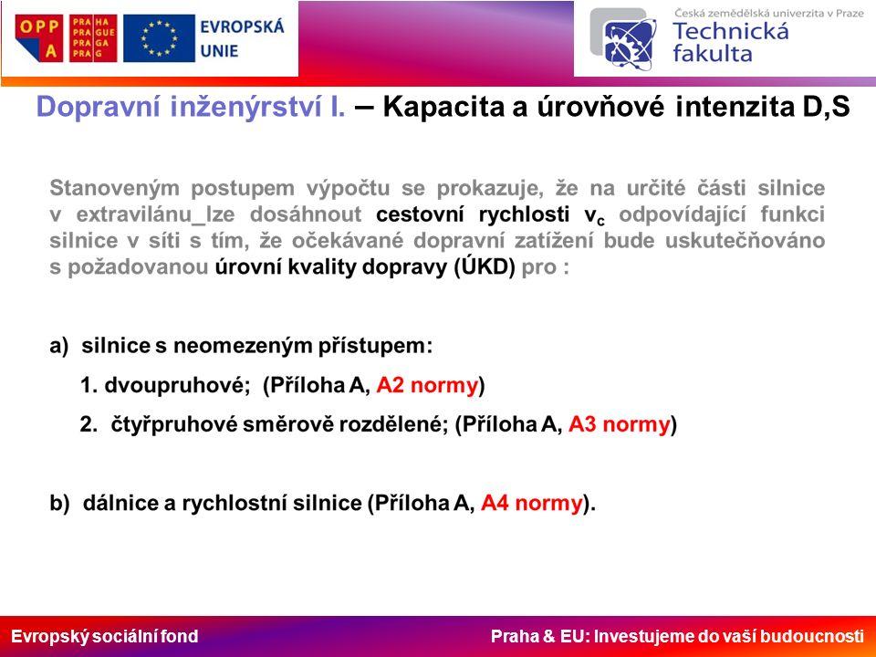 Evropský sociální fond Praha & EU: Investujeme do vaší budoucnosti Dopravní inženýrství I. – Kapacita a úrovňové intenzita D,S