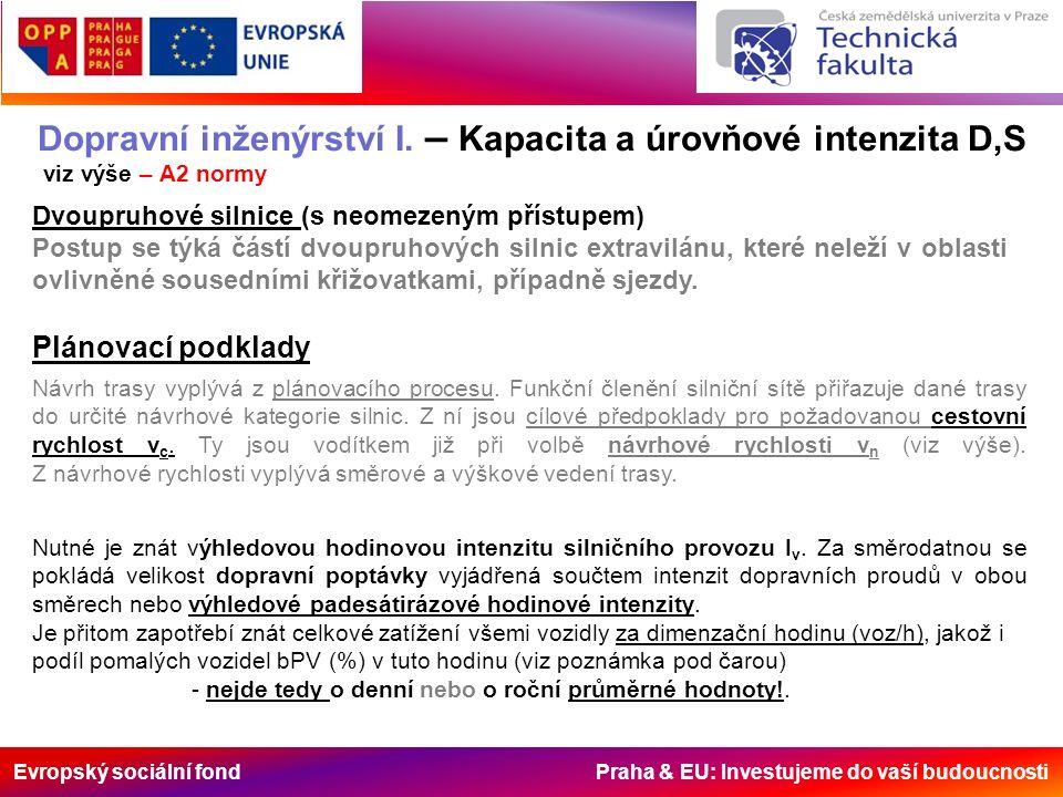 Evropský sociální fond Praha & EU: Investujeme do vaší budoucnosti Dopravní inženýrství I. – Kapacita a úrovňové intenzita D,S viz výše – A2 normy Plá