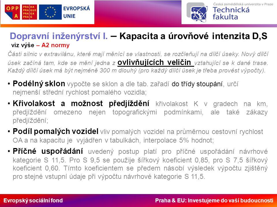 Evropský sociální fond Praha & EU: Investujeme do vaší budoucnosti Dopravní inženýrství I. – Kapacita a úrovňové intenzita D,S viz výše – A2 normy Čás