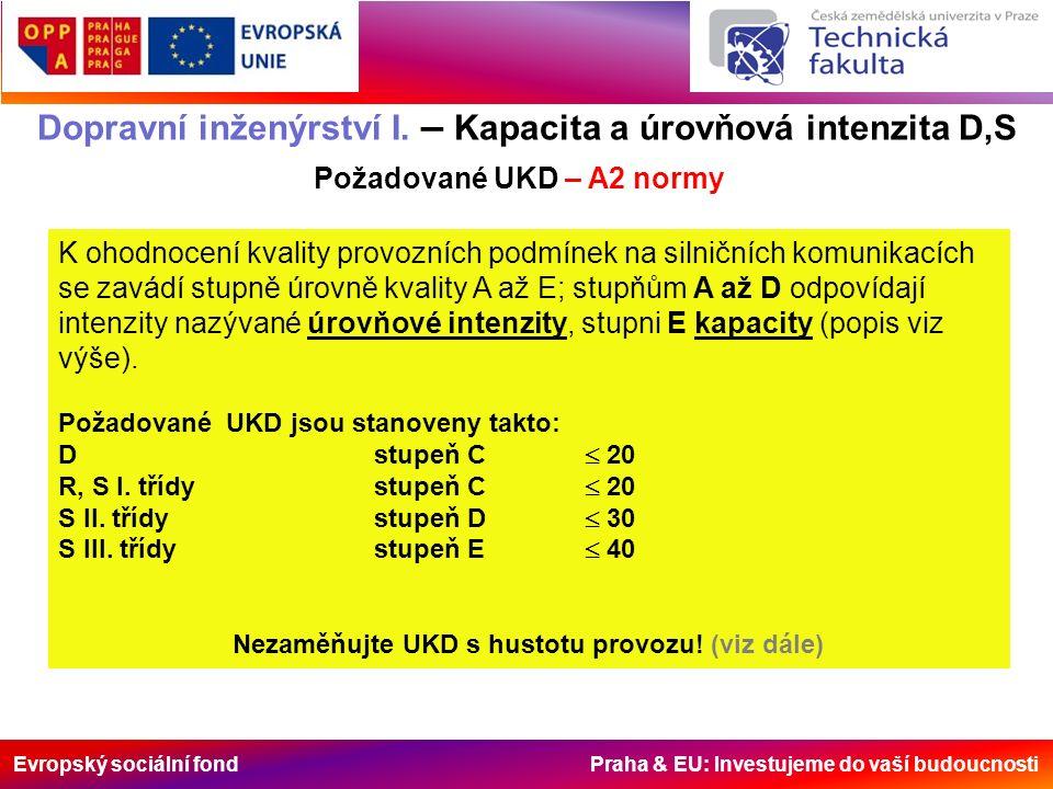 Evropský sociální fond Praha & EU: Investujeme do vaší budoucnosti Dopravní inženýrství I. – Kapacita a úrovňová intenzita D,S Požadované UKD – A2 nor