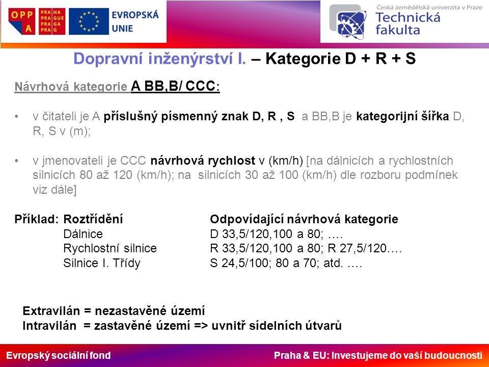 Evropský sociální fond Praha & EU: Investujeme do vaší budoucnosti Dopravní inženýrství I. – Kategorie D + R + S Návrhová kategorie A BB,B/ CCC : v či