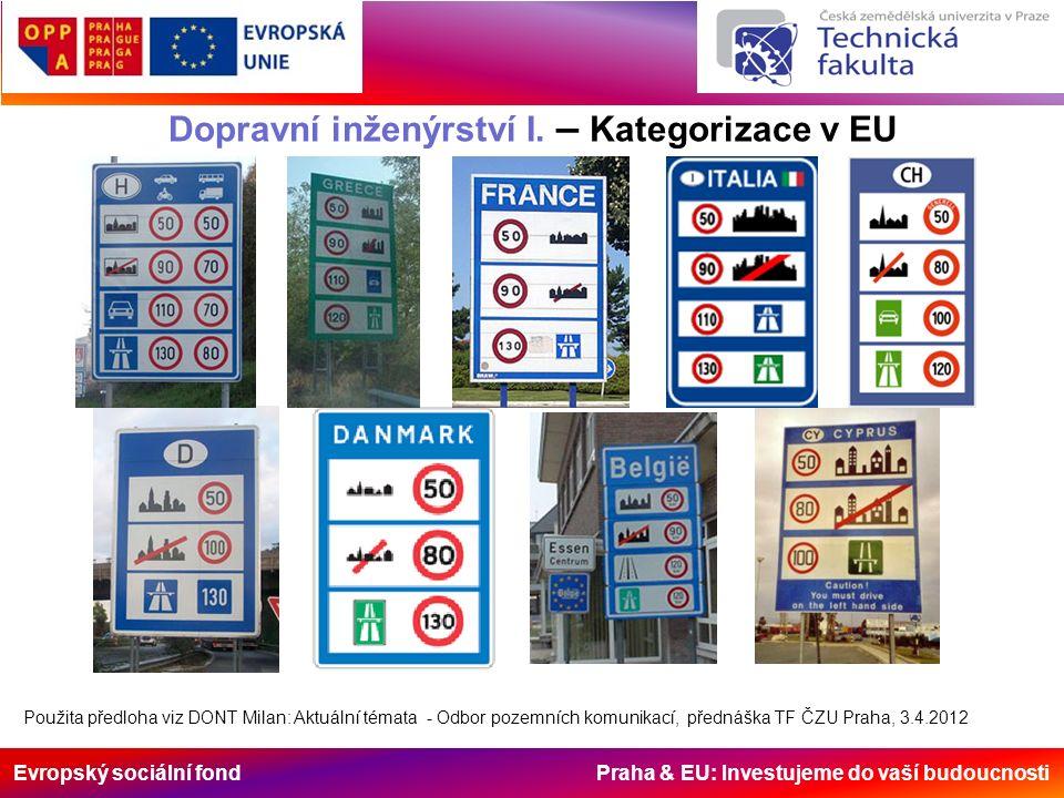 Evropský sociální fond Praha & EU: Investujeme do vaší budoucnosti Dopravní inženýrství I. – Kategorizace v EU Použita předloha viz DONT Milan: Aktuál