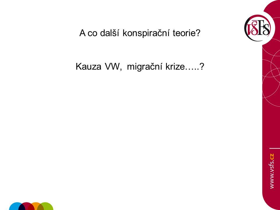 A co další konspirační teorie Kauza VW, migrační krize…..