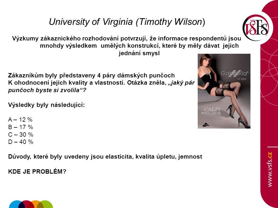 University of Virginia (Timothy Wilson) Výzkumy zákaznického rozhodování potvrzují, že informace respondentů jsou mnohdy výsledkem umělých konstrukcí, které by měly dávat jejich jednání smysl Zákazníkům byly představeny 4 páry dámských punčoch K ohodnocení jejich kvality a vlastností.