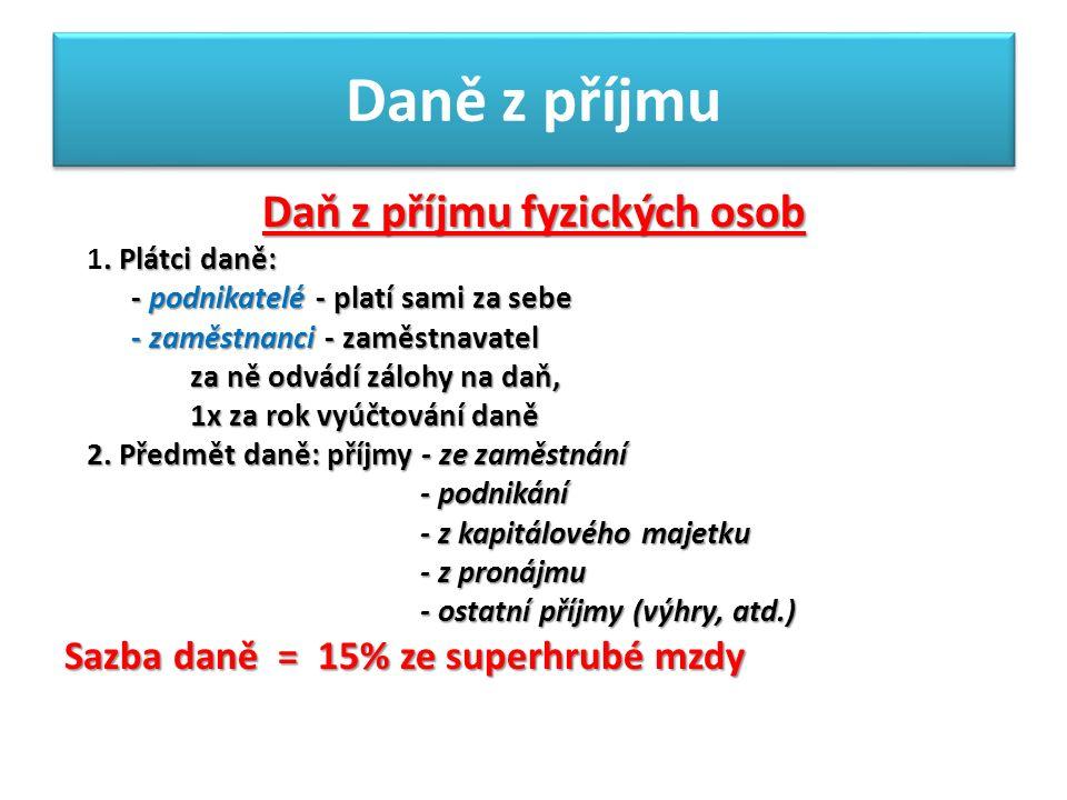 Daně z příjmu Daň z příjmu fyzických osob. Plátci daně: 1.