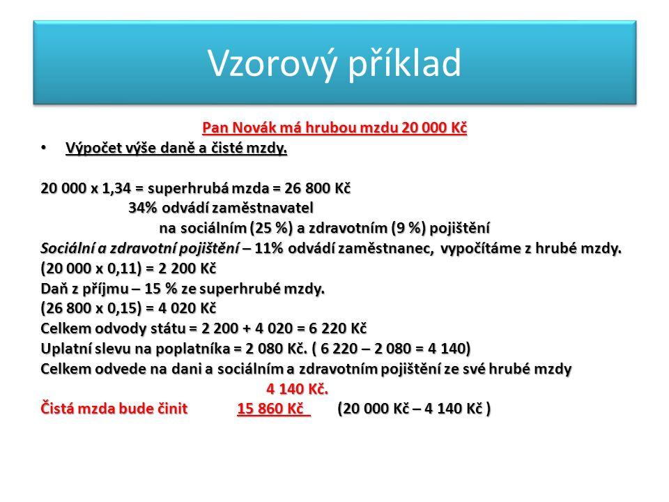 Vzorový příklad Pan Novák má hrubou mzdu 20 000 Kč Výpočet výše daně a čisté mzdy.