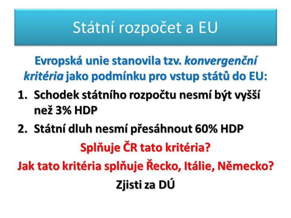 Státní rozpočet a EU Evropská unie stanovila tzv.