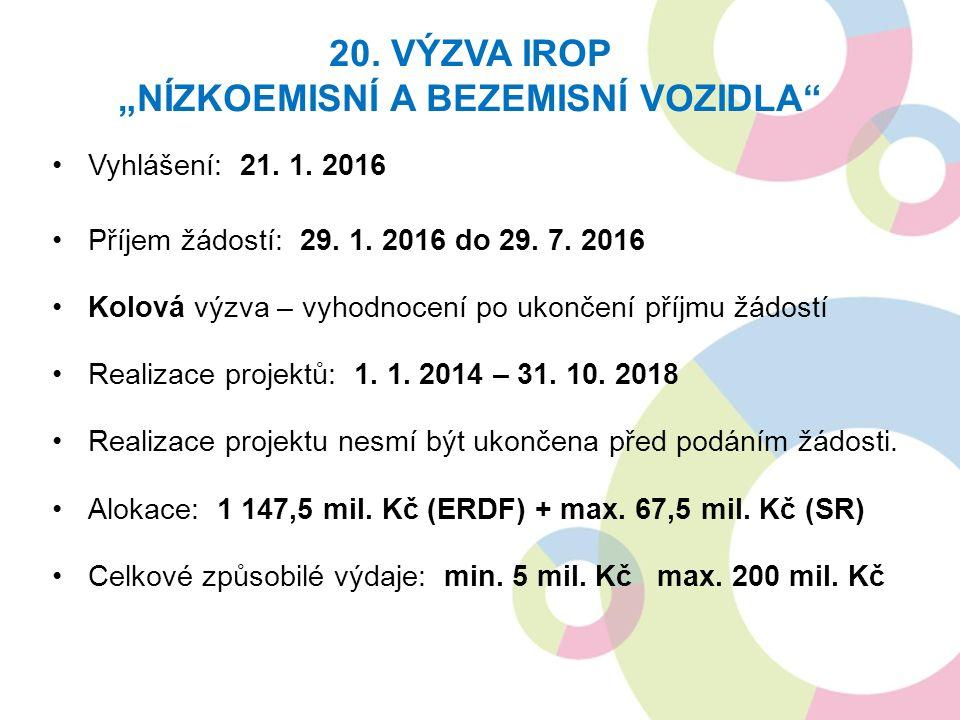 Vyhlášení: 21. 1. 2016 Příjem žádostí: 29. 1. 2016 do 29.