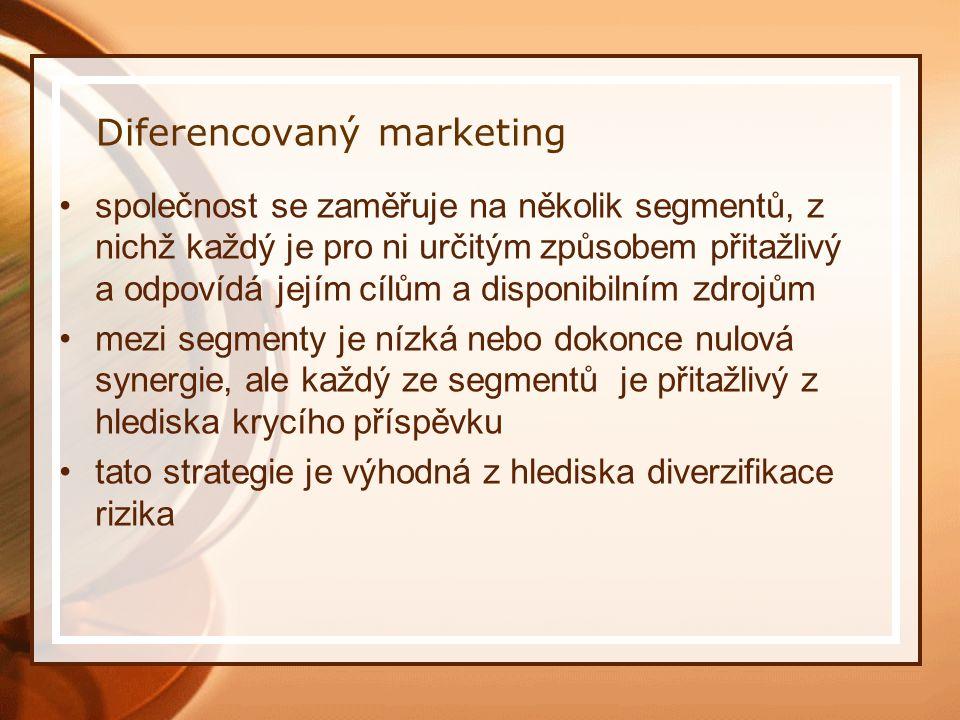Diferencovaný marketing společnost se zaměřuje na několik segmentů, z nichž každý je pro ni určitým způsobem přitažlivý a odpovídá jejím cílům a disponibilním zdrojům mezi segmenty je nízká nebo dokonce nulová synergie, ale každý ze segmentů je přitažlivý z hlediska krycího příspěvku tato strategie je výhodná z hlediska diverzifikace rizika