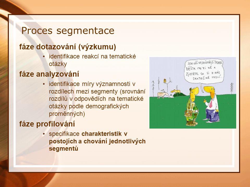Proces segmentace fáze dotazování (výzkumu) identifikace reakcí na tematické otázky fáze analyzování identifikace míry významnosti v rozdílech mezi segmenty (srovnání rozdílů v odpovědích na tematické otázky podle demografických proměnných) fáze profilování specifikace charakteristik v postojích a chování jednotlivých segmentů