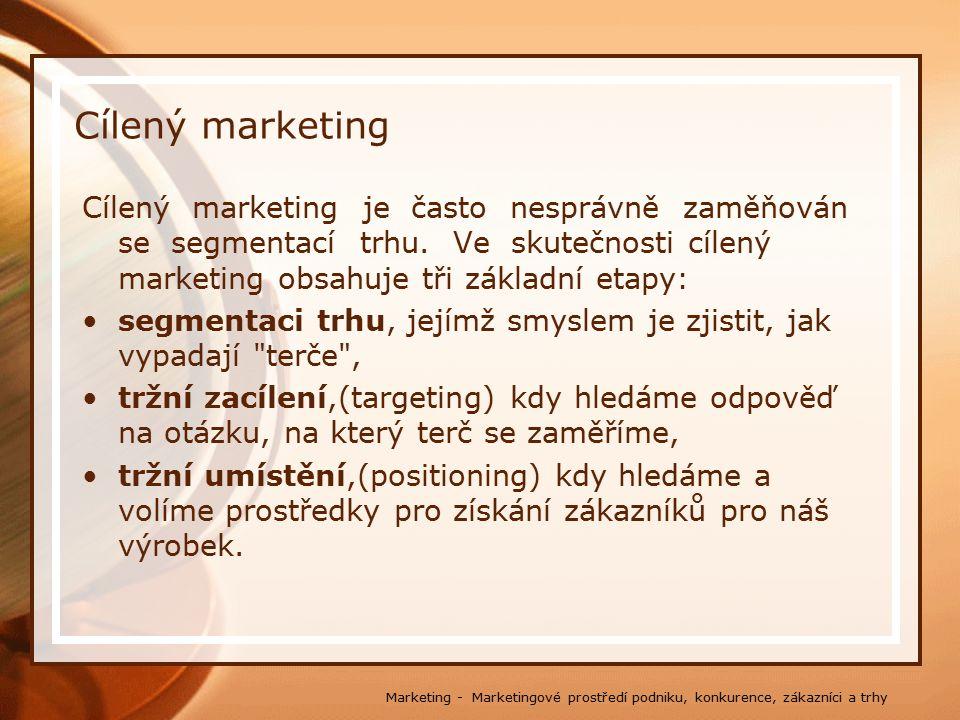Cílený marketing Cílený marketing je často nesprávně zaměňován se segmentací trhu. Ve skutečnosti cílený marketing obsahuje tři základní etapy: segmen