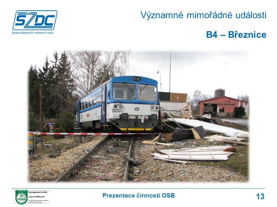 Prezentace činnosti OSB 13 B4 – Březnice Významné mimořádné události