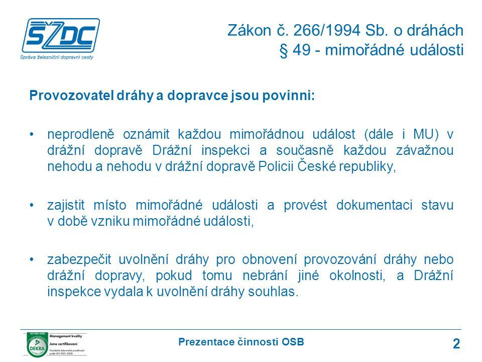 Prezentace činnosti OSB 2 Provozovatel dráhy a dopravce jsou povinni: neprodleně oznámit každou mimořádnou událost (dále i MU) v drážní dopravě Drážní inspekci a současně každou závažnou nehodu a nehodu v drážní dopravě Policii České republiky, zajistit místo mimořádné události a provést dokumentaci stavu v době vzniku mimořádné události, zabezpečit uvolnění dráhy pro obnovení provozování dráhy nebo drážní dopravy, pokud tomu nebrání jiné okolnosti, a Drážní inspekce vydala k uvolnění dráhy souhlas.
