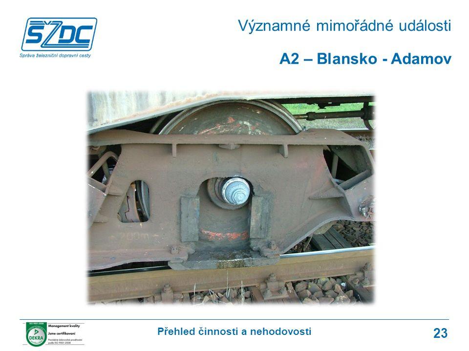 Přehled činnosti a nehodovosti 23 A2 – Blansko - Adamov Významné mimořádné události
