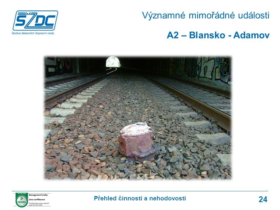 Přehled činnosti a nehodovosti 24 A2 – Blansko - Adamov Významné mimořádné události