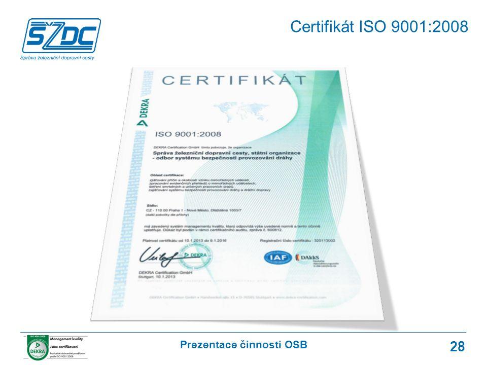 Prezentace činnosti OSB 28 Certifikát ISO 9001:2008