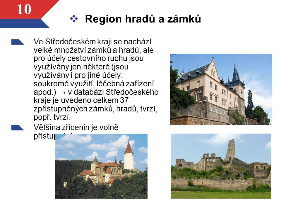 10  Region hradů a zámků Ve Středočeském kraji se nachází velké množství zámků a hradů, ale pro účely cestovního ruchu jsou využívány jen některé (js