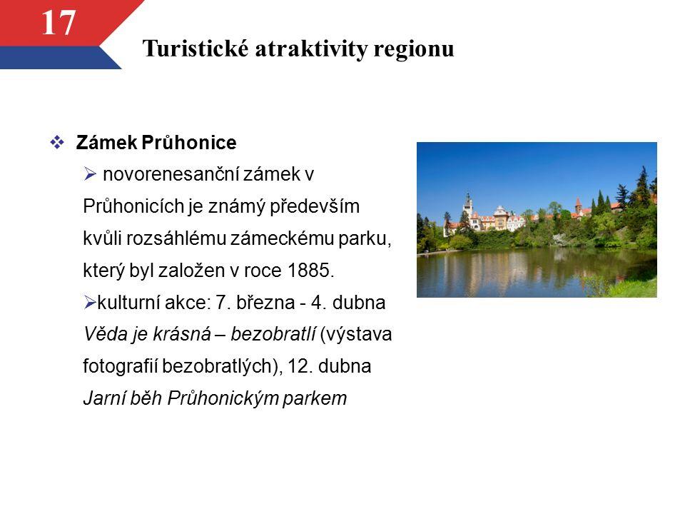 17 Turistické atraktivity regionu  Zámek Průhonice  novorenesanční zámek v Průhonicích je známý především kvůli rozsáhlému zámeckému parku, který by