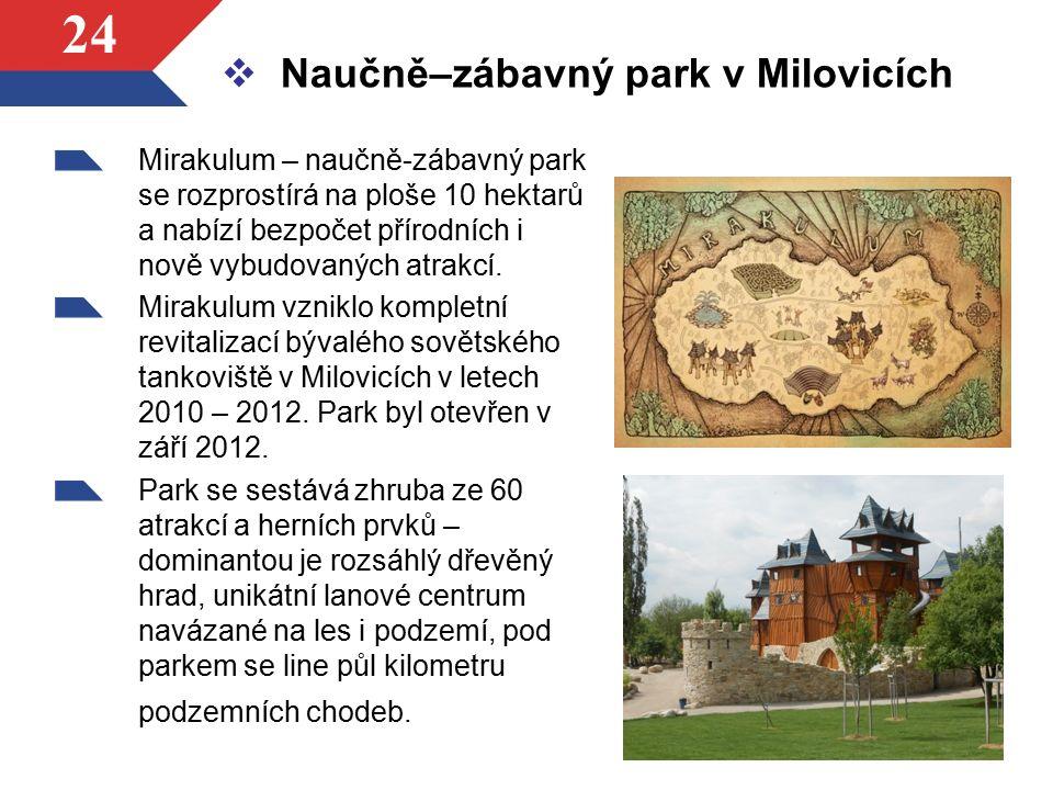 24  Naučně–zábavný park v Milovicích Mirakulum – naučně-zábavný park se rozprostírá na ploše 10 hektarů a nabízí bezpočet přírodních i nově vybudovan