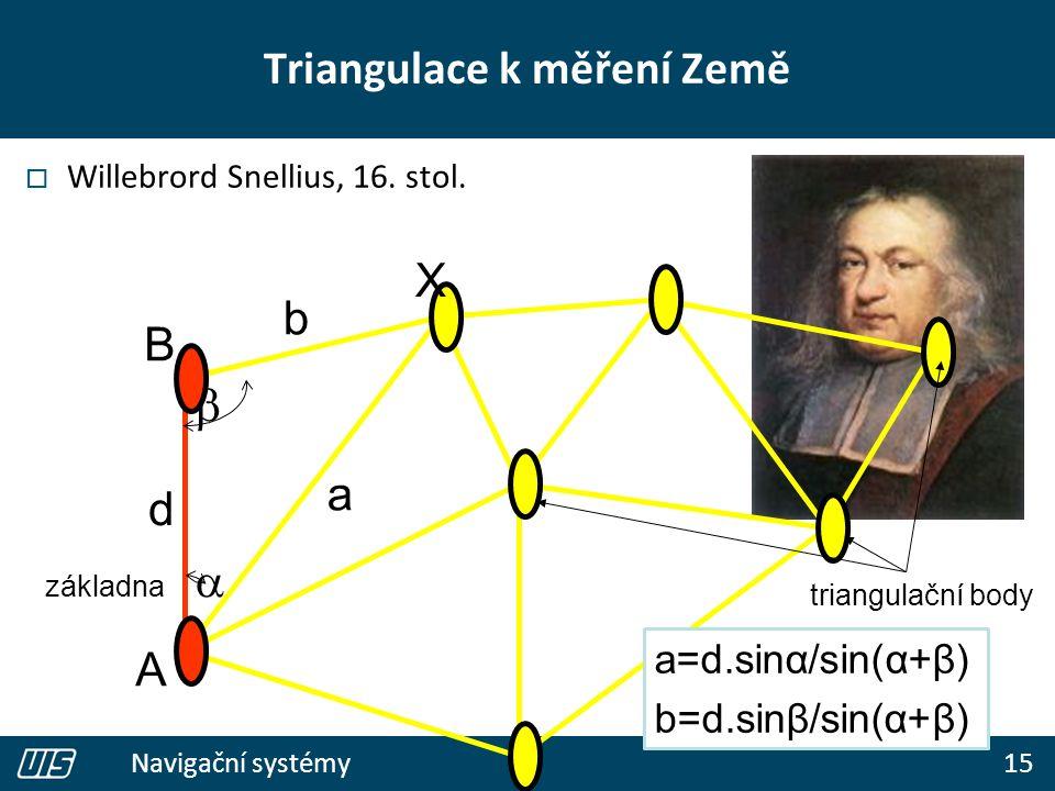 15 Navigační systémy Triangulace k měření Země  Willebrord Snellius, 16. stol. d   b a A B triangulační body a=d.sinα/sin(α+β) b=d.sinβ/sin(α+β) zá