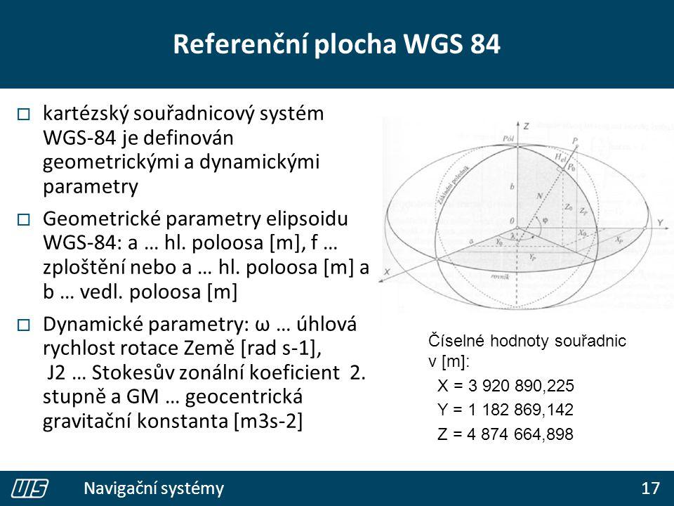 17 Navigační systémy Referenční plocha WGS 84  kartézský souřadnicový systém WGS-84 je definován geometrickými a dynamickými parametry  Geometrické parametry elipsoidu WGS-84: a … hl.