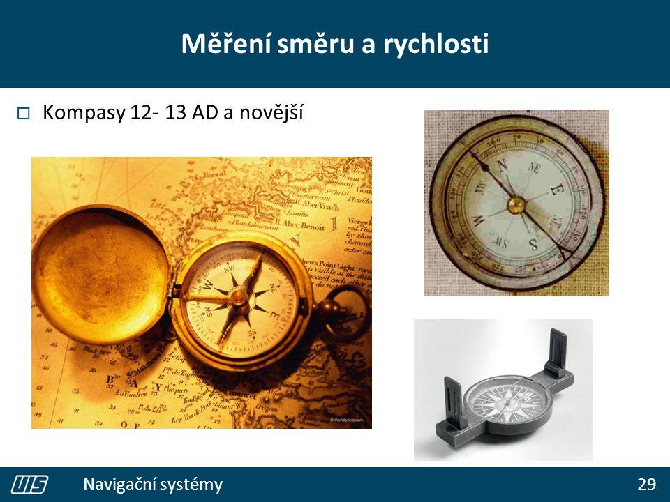 29 Navigační systémy Měření směru a rychlosti  Kompasy 12- 13 AD a novější