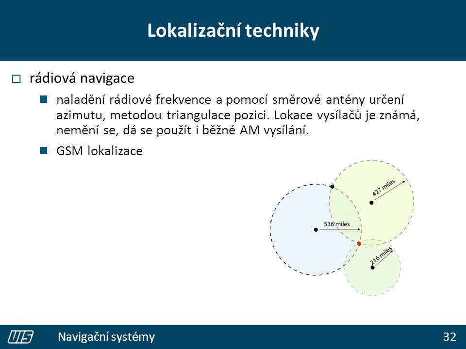 32 Navigační systémy Lokalizační techniky  rádiová navigace naladění rádiové frekvence a pomocí směrové antény určení azimutu, metodou triangulace pozici.