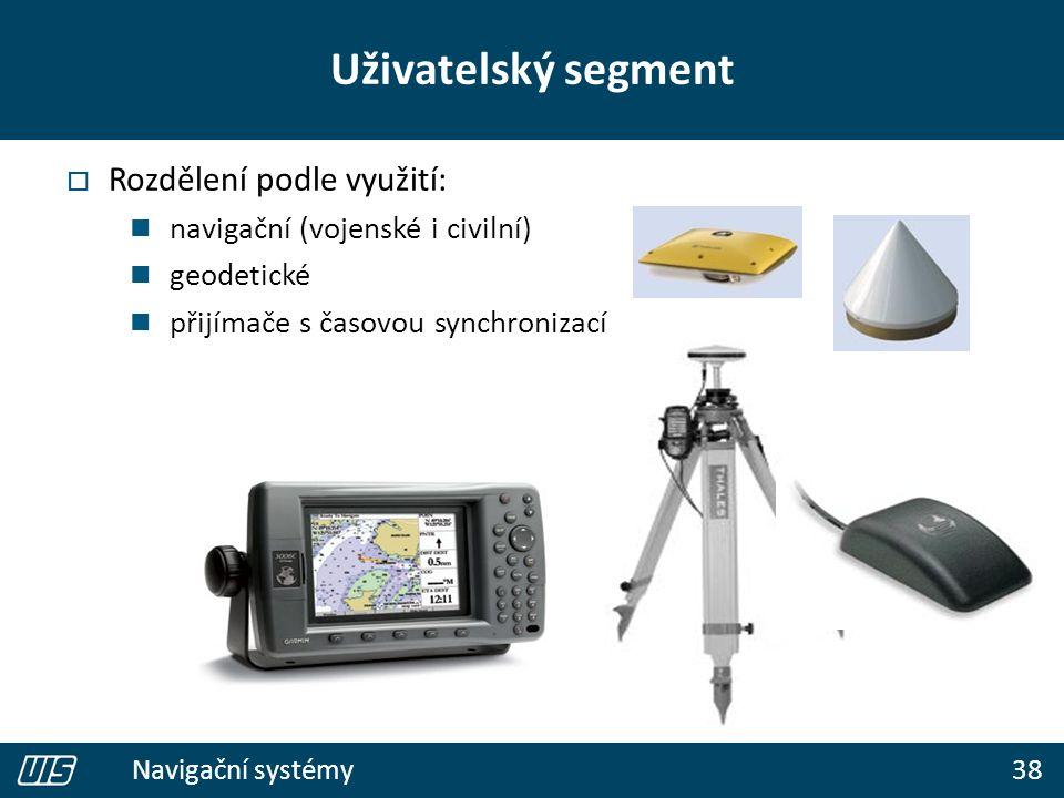 38 Navigační systémy  Rozdělení podle využití: navigační (vojenské i civilní) geodetické přijímače s časovou synchronizací Uživatelský segment