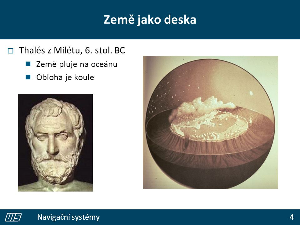 4 Navigační systémy Země jako deska  Thalés z Milétu, 6. stol. BC Země pluje na oceánu Obloha je koule