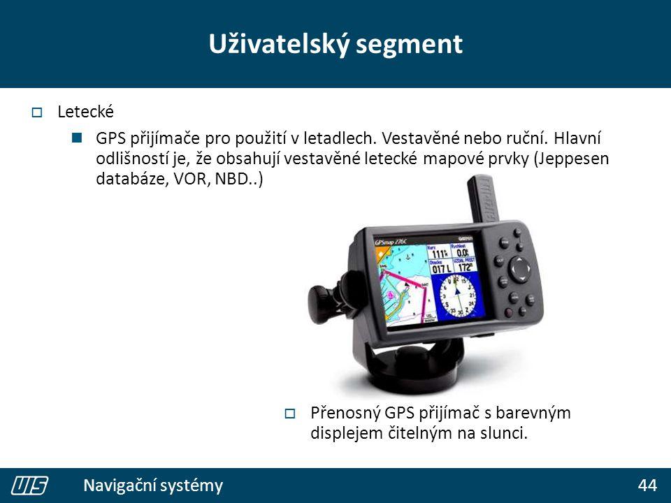 44 Navigační systémy Uživatelský segment  Letecké GPS přijímače pro použití v letadlech. Vestavěné nebo ruční. Hlavní odlišností je, že obsahují vest
